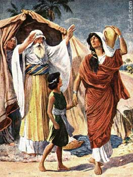 Abraham forces Hagar and Ishmael out of the family