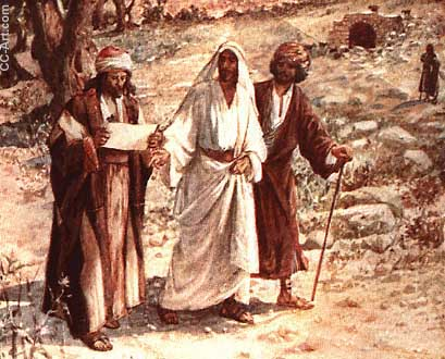 Jesus talks with two disciples on the road to Emmaus
