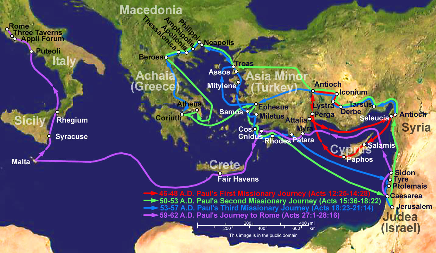 Map of Paul's missionary journeys